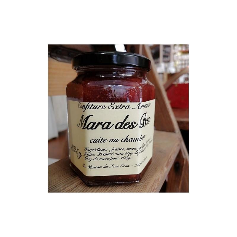 Délicieuse confiture extra de fraise la mara des bois cuite au chaudron 325 g